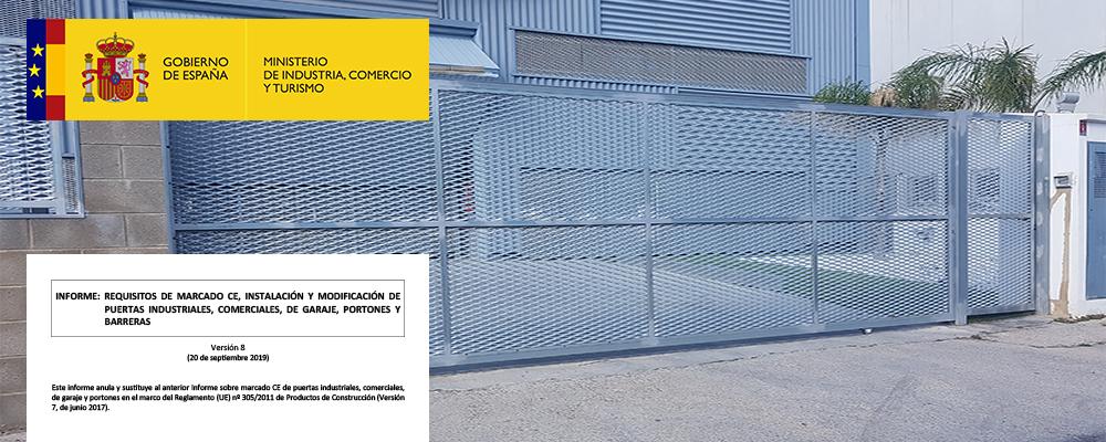El Ministerio publica su nuevo informe de requisitos y marcado CE de puertas